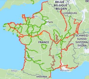 Carte des pistes cyclables en France